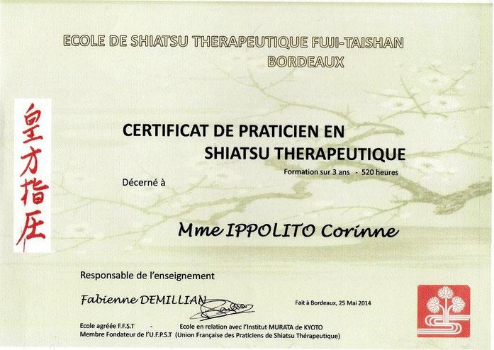 Diplôme de Shiatsu thérapeutique décerné à Corinne IPPOLITO