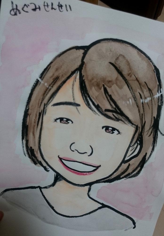 自分を描いてもらいました!似顔絵スクール!