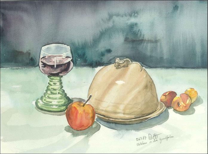 Bild Aquarell: Stillleben Weinglas Käseglocke Obst