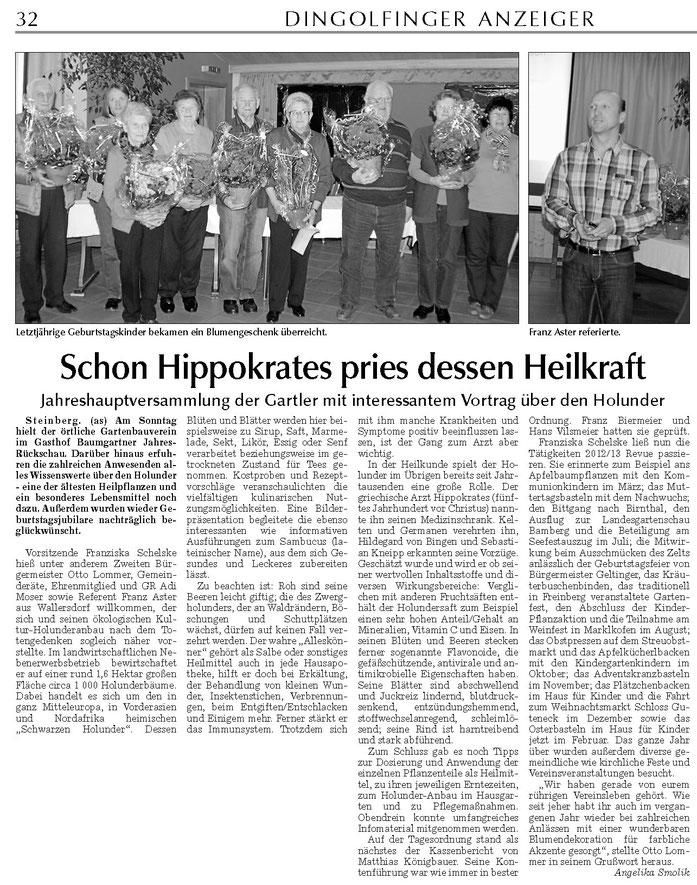 Holundervortrag beim OGV Steinberg im April 2013