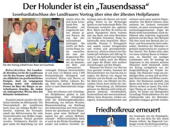 Vortrag bei den Landfrauen in Haberskirchen 2013