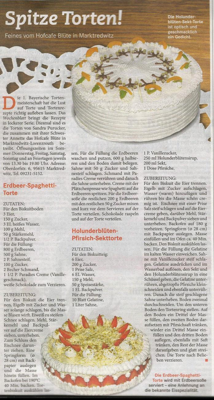 """Rezept vom """"Hofcafe Blüte"""" aus Marktredwitz - erschienen im Landwirtschaftlichen Wochenblatt in der Ausgabe 24 vom 12. Juni 2015"""