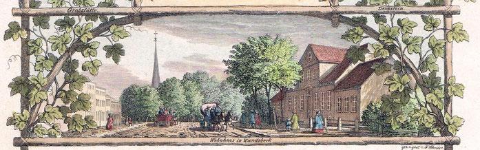 Das Wohnhaus in Wandsbek, in dem Matthias Claudius und seine Familie ab 1782 lebten, nach einer Radierung von Franz Adam Schröder, 1840 (Privat-Archiv RA Michael Pommerening, Hamburg-Wandsbek)