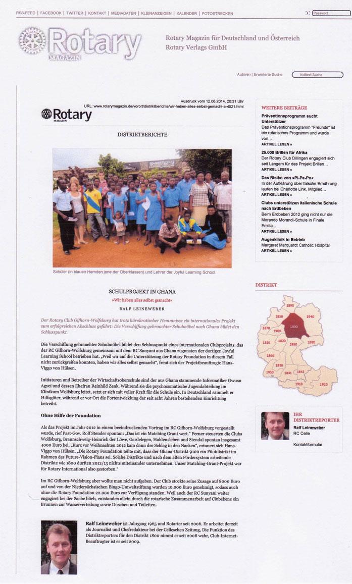 Bericht im Rotary Magazin, 12.06.2014