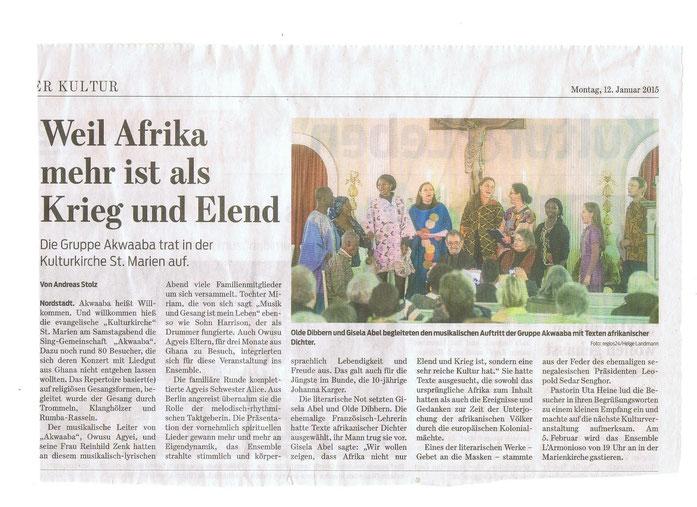 Wolfsburger Nachrichten vom 12.01.2015, Foto: Helge Landmann