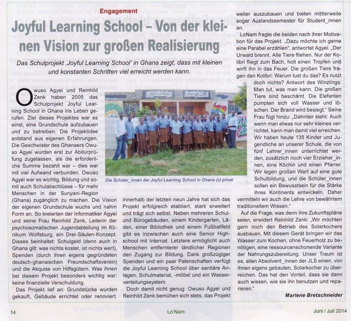 Afrika Magazin Lo Nam, Juni/Juli 2014, Artikel von Marlene Bretschneider    www.lonam.de