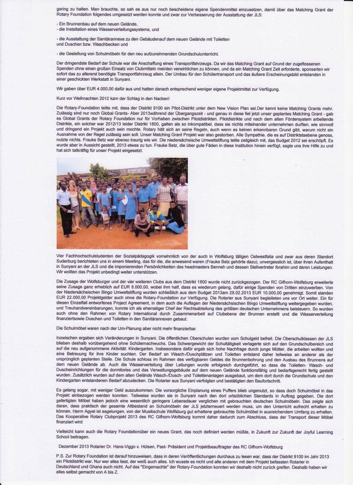 Rotary Club Bericht 2013, Verfasser Dr. Hans-Viggo von Hülsen