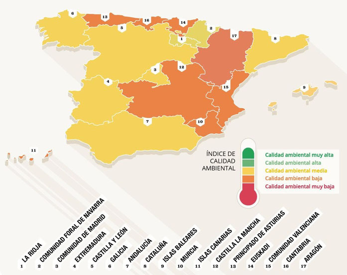 Mapa de la calidad ambiental por regiones.(según Greenpeace).
