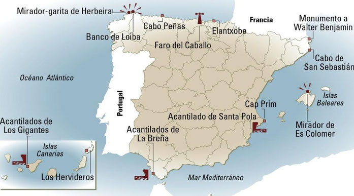 MAPA DE LOS MEJORES ACANTILADOS DE ESPAÑA.