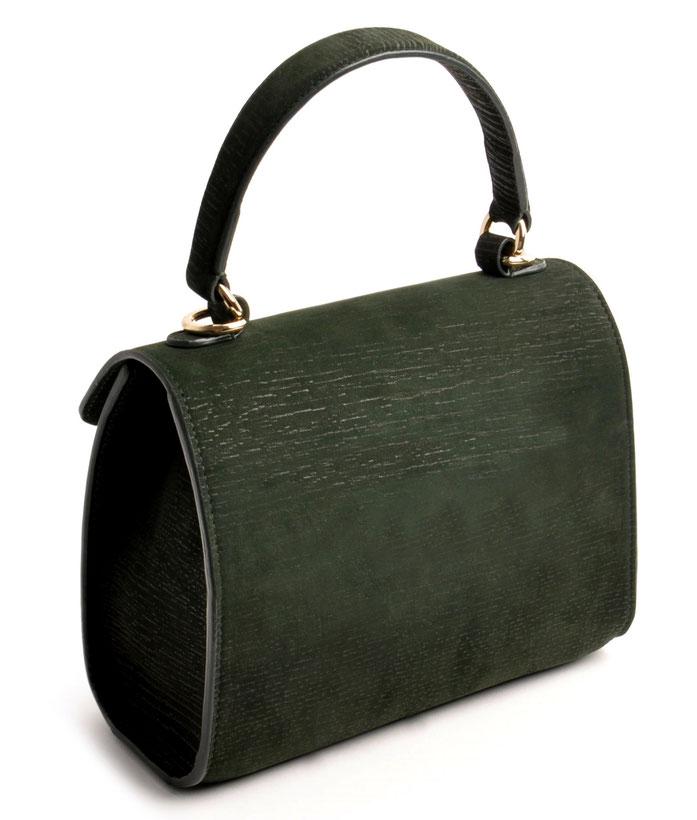 Online-Shop  OWA Tracht modische zeitlose Dirndltasche  Henkeltasche CLOE  . Farbe grün. Detailansicht Rückseite versandkostenfrei bestellen