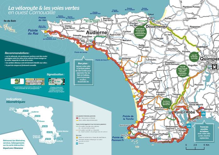 La véloroute V5 La Littorale, les voies vertes et d'autres itinéraires cyclables de l'Ouest Cornouaille (2018)