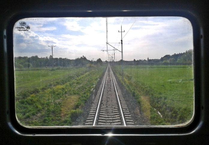 Blick aus dem Fenster am Zugschluss