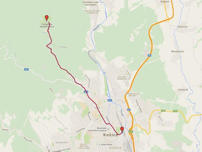 Karte Kosice Bahnhof-Zoo