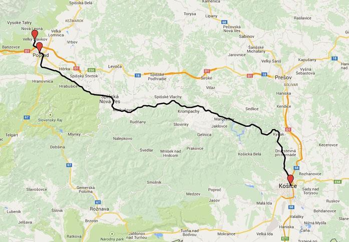 Karte Poprad-Kosice