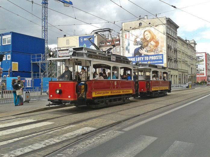 Historische Straßenbahn in Breslau
