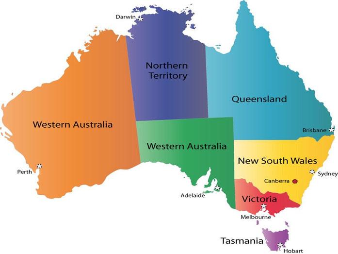 mapa de australia - vivir en australia - emigrar a australia