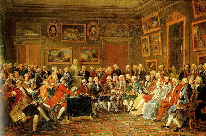Gabriel Lemonnier (1743-1824), Une lecture chez Madame Geoffrin, 1812. Huile sur toile (H..1.29 m ; L..1.96.m). Musée des Beaux-Arts, Rouen. Entre autres invités figurent d'Alembert, Montesquieu, Diderot, Malherbe, Turgot, Rameau, Réaumur, Vanloo, Vernet.