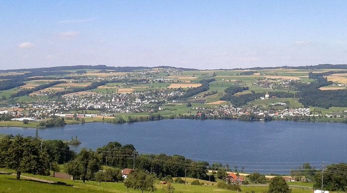 Lac de Baldegg, Hitzkirch, Gelfingen et chateau Heidegg