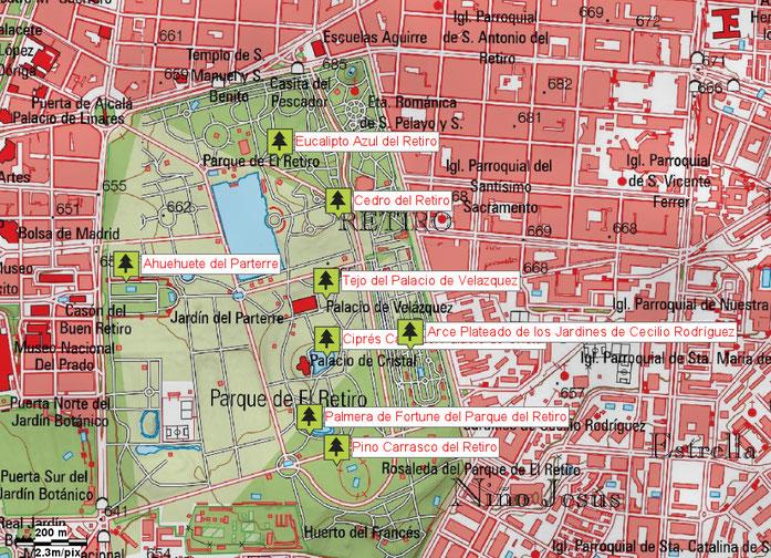 Mapa de situación de los Árboles Singulares del Parque del Retiro