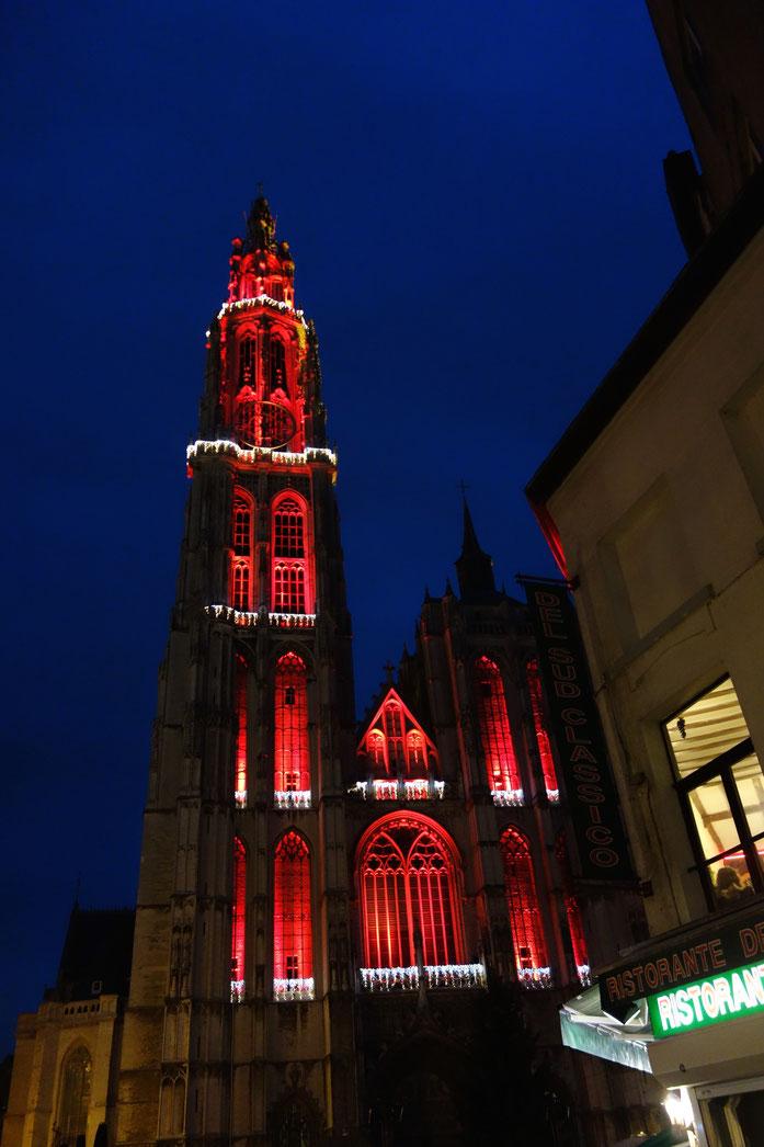 Antwerpener Liebfrauenkathedrale als Nikolaus verkleidet.