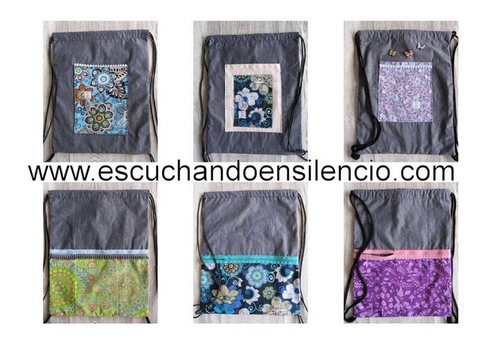 Mochilas de cordón en tela vaquera fina combinadas con telas estampadas a contraste