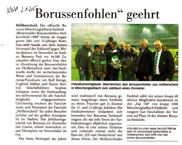 Presseartikel in der NNP, Nassauischen Neuen Presse vom Freitag, 02.01.2015