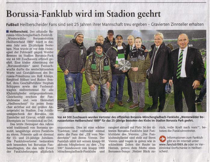 Presseartikel in der Rhein-Zeitung, Lokalausgabe Westerwälder-Zeitung vom Samstag, 31.12.2014