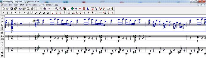 """Erstellen eines MIDIs für die 20er Drehorgel auf 3 verschiedenen Spuren am Beispiel der Drehorgel-Programmmusik """"Der mystische Wald""""."""