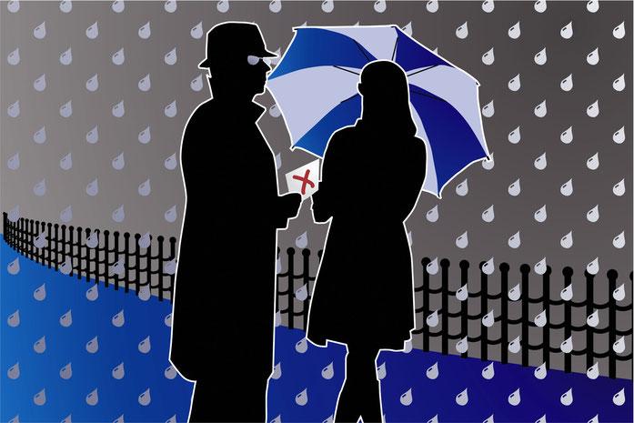 Grafische Darstellung eines Informanten, der einer Frau im Regen Informationen in einem Briefumschlag übergibt. Betriebsspionage, Kurtz Detektei Hamburg.
