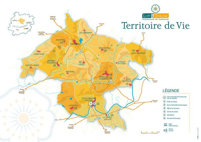 Le territoire de la Communauté de communes Lot-et-Tolzac