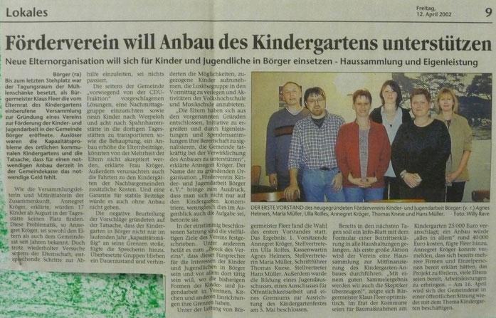 v.l.: Hans Müller, Thomas Knese, Annegret Kröger, Ulla Rolfes, Maria Müller, Agnes Helmers, Auszug EZ 12.04.2002