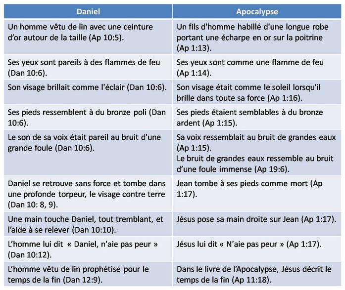 Les similitudes entre Jésus glorifié dans la vision de Jean dans le livre de l'Apocalypse et l'homme vêtu de lin dans la vision du prophète Daniel nous permettent d'affirmer que l'homme vêtu de lin n'est autre que Jésus-Christ glorifié lui-même.