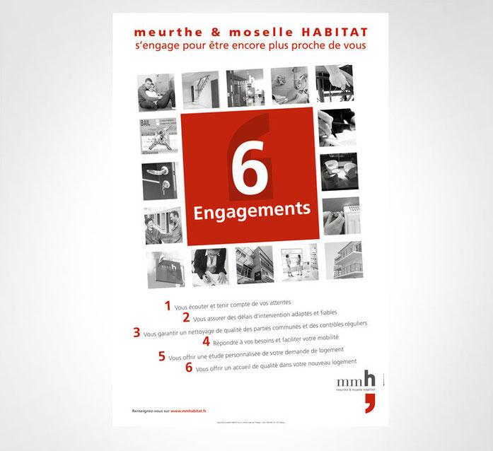 LSZ Communication - Graphiste - Directrice artistique freelance Nantes - #lepetitoiseaudelacom - Meurthe & Moselle Habitat - MMH - Immobilier - 6 engagements - Affiche