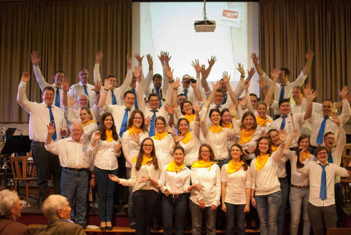 Die Besetzung der Blaskapelle Assenheim am Konzert zum 80. Jubiläum (15.11.2014)