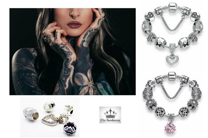 bracelet femme breloque argent
