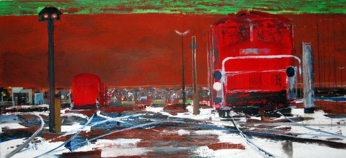 o.T., Acryl auf Leinwand, 162 x 72 cm