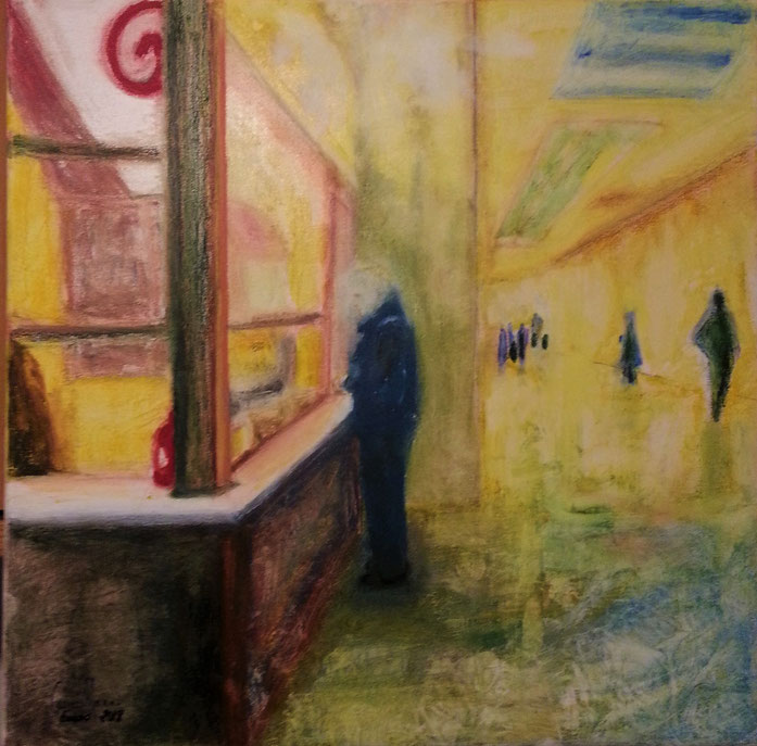 """Kebab for two"", oil pastel on canvas, 50 x 50 cm., 2018, Carmen Moreno."