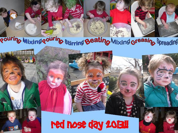 Baking cakes to sell to raise lots of money & face painting fun - Red Nose Day - March 2013