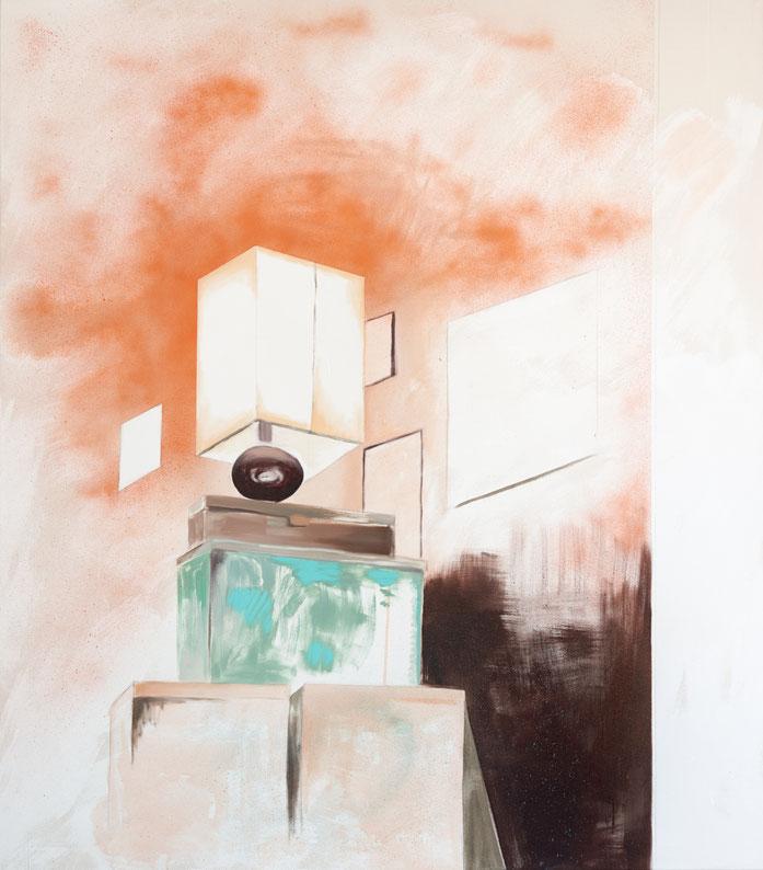 »Stille Lichter« 150 x 130 cm, Öl, Lack und Acryl auf Baumwolle