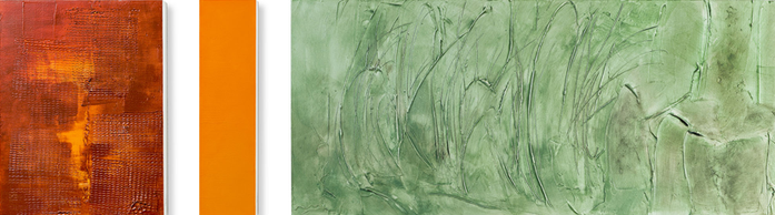Malerei Tryptichon in drei unterschiedlichen Formaten in rostrot, orange und seegrün