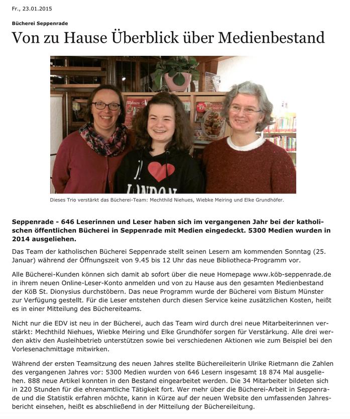 Westfälische Nachrichten, Lokalteil, 23.01.2015