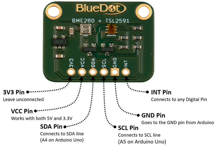 I2C Wiring for BME280+TSL2591 Board