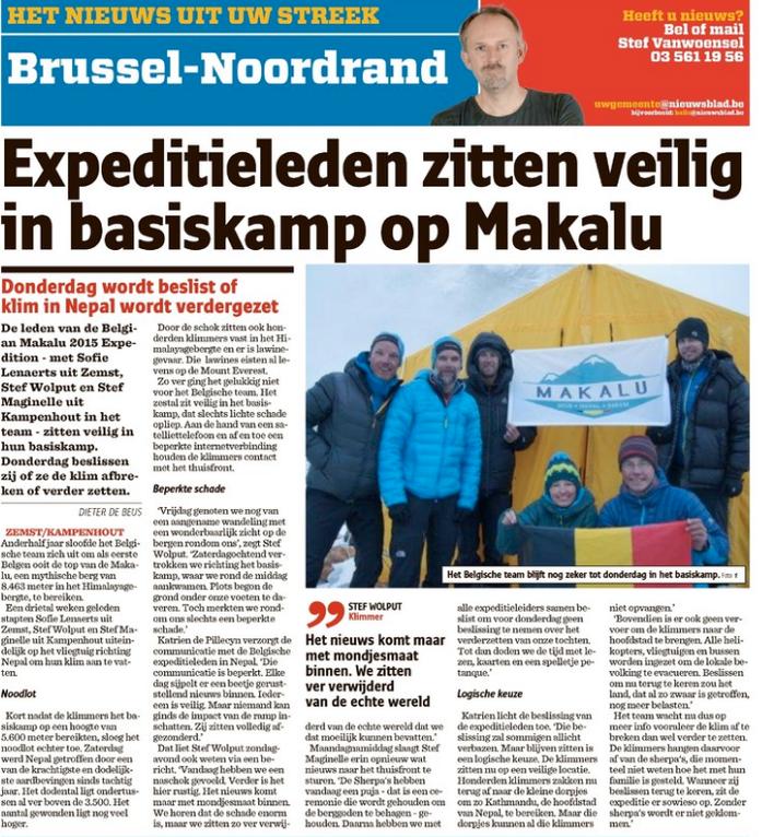 Het Nieuwsblad 28 april 2015
