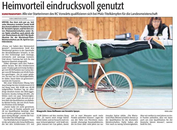 Alle vier Kunstradsportlerinnen qualifizieren sich für di Rheinland-Pfalz-Meisterschaft.