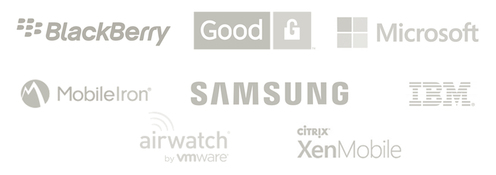 Supported EMM platforms by ISEC7: BlackBerry, Good, Microsoft, MobileIron, SAMSUNG, IBM, airwatch, XenMobile