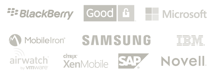 Strategic partnerships are with BlackBerry, Good Technologies, Microsoft, MobileIron, Samsung, IBM, airwatch, XenMobile, SAP, Novell
