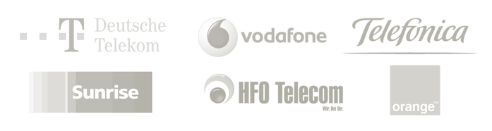Network operators are Deutsche Telekom, Vodafone, Telefonica, Sunrise, HFO Telecom, orange