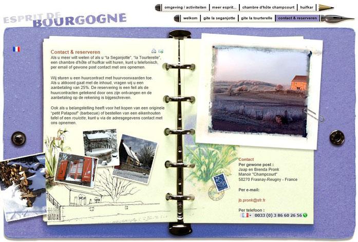 De reserveringsbladzijde van ons allereerste website in 2004