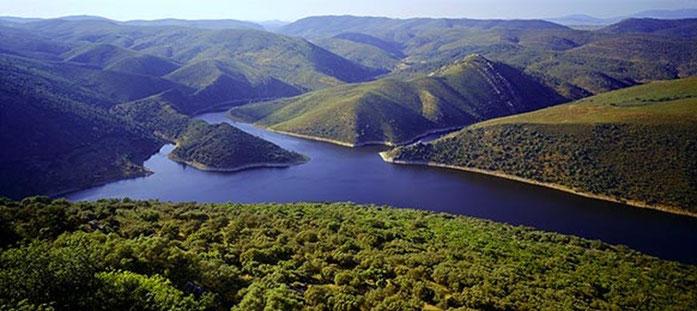 El Tajo y el Almonte en su confluencia en el Parque Nacional de Monfragüe.