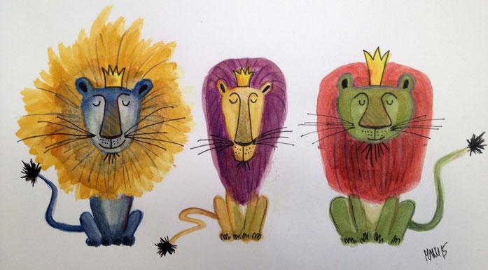 Drei Könige, 2015, Aquarell und Farbstifte, A4